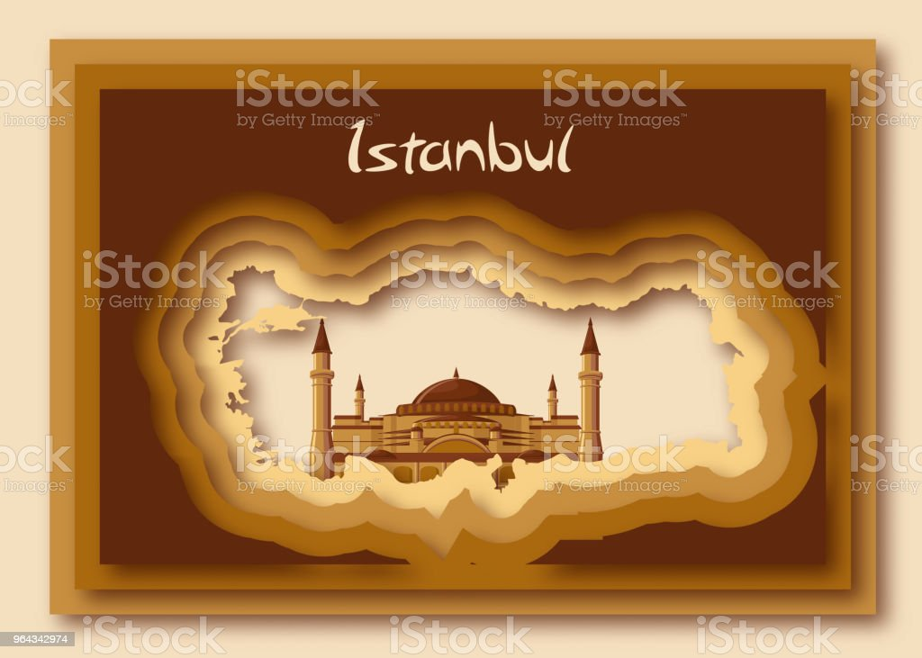 Turkish Map Silhouette In Modern Paper Cut Out Style With Hagia