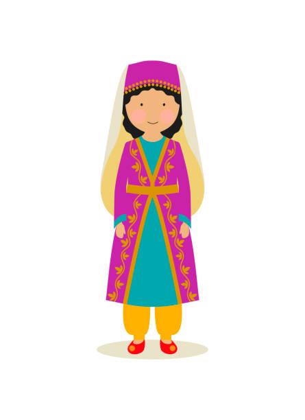 Turkish national costume for women vector art illustration