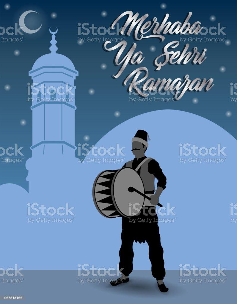 Turkish ramadan greeting with ramadan drummer in front of blue sky turkish ramadan greeting with ramadan drummer in front of blue sky royalty free turkish ramadan m4hsunfo