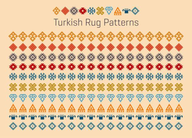 turkish rug pattern - turcja stock illustrations