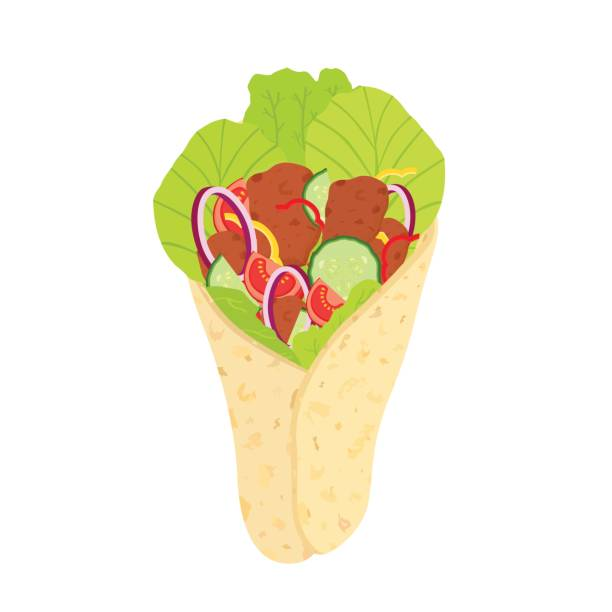 türkische döner, arabische gebratene fleisch und gemüse. isolierte fastfood - döner stock-grafiken, -clipart, -cartoons und -symbole
