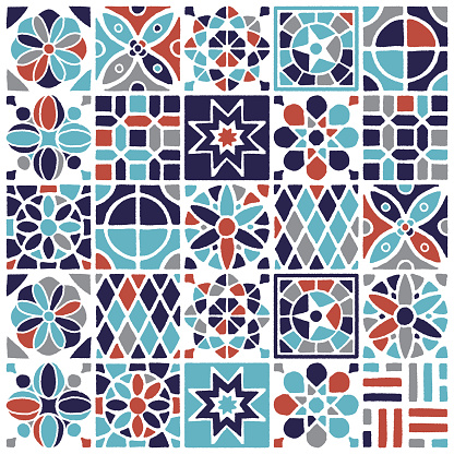 Various Turkish tiles and ceramics decorations combined to create seamless pattern illustration. Hand drawn vector graphic for creating fabrics, packaging, stationery, wallpaper designs.