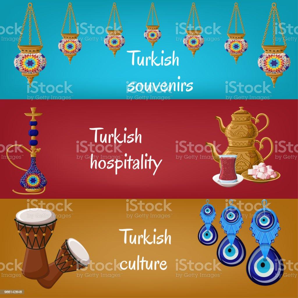 Türkische touristischen Banner mit traditionellen Laternen, Shisha, Teekanne, teeglas, Locum, Drums und Boncuck. - Lizenzfrei Bildhintergrund Vektorgrafik