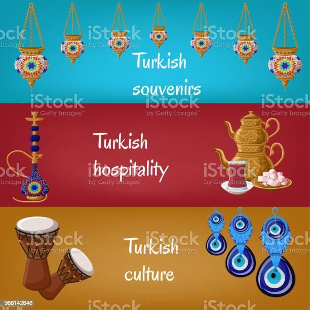 Türkische Touristischen Banner Mit Traditionellen Laternen Shisha Teekanne Teeglas Locum Drums Und Boncuck Stock Vektor Art und mehr Bilder von Bildhintergrund