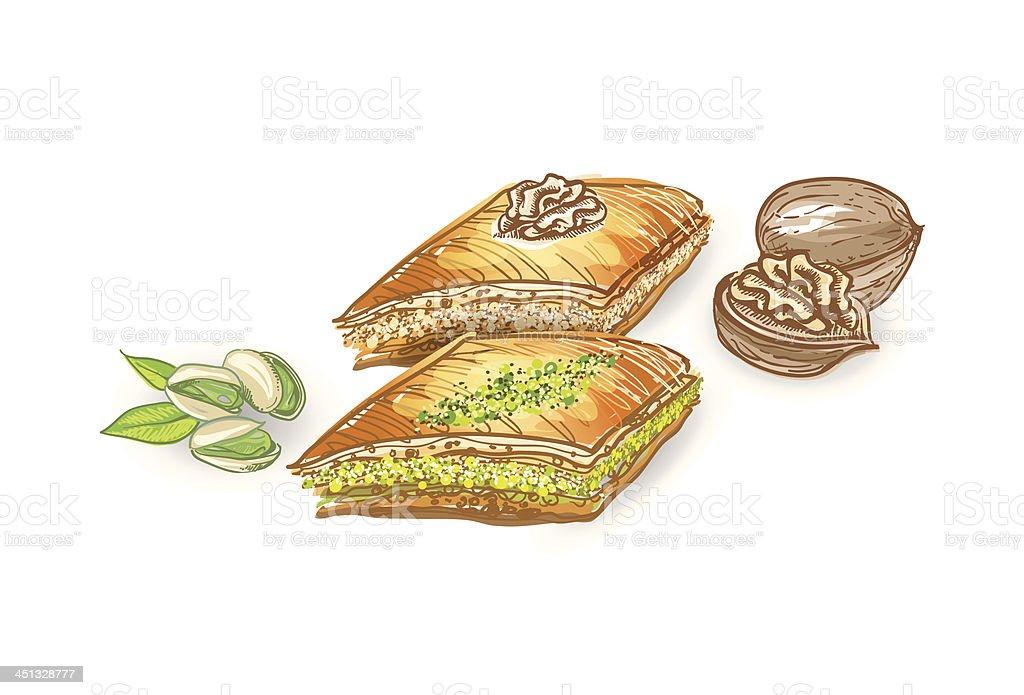 Turkish Traditional Dessert Baklava vector art illustration