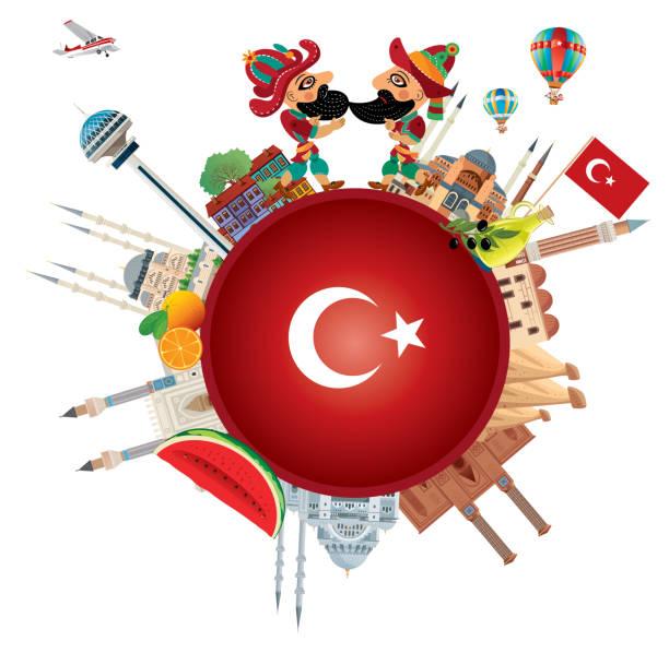 türkische reisen - alanya stock-grafiken, -clipart, -cartoons und -symbole