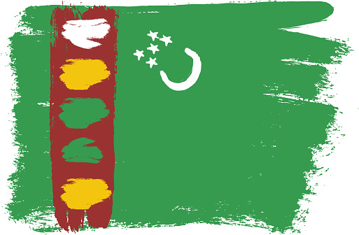 Turkmenistan Flag Vector Hand Painted with Rounded Brush