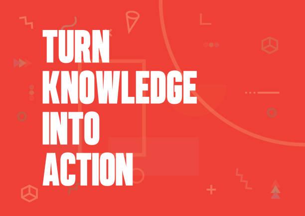 ilustraciones, imágenes clip art, dibujos animados e iconos de stock de transforma el conocimiento en acción. inspiración motivación creativo citar poster plantilla. tipografía - ilustración de vectores - consejero de la escuela
