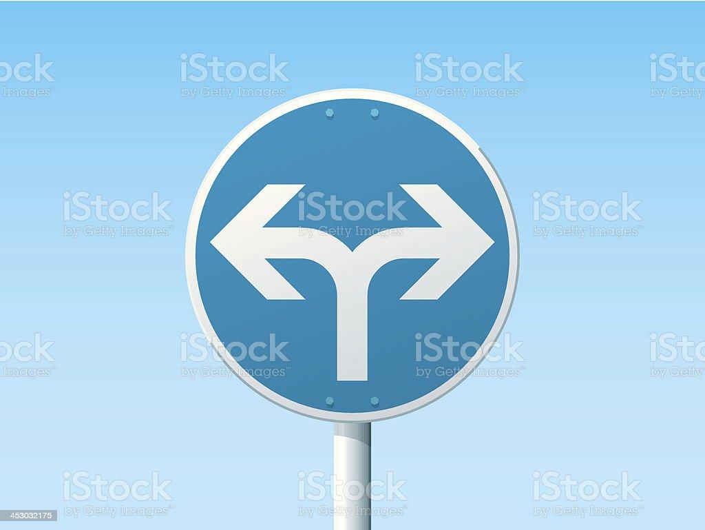 Turn Left Or Right Ahead German Road Sign Blue vector art illustration