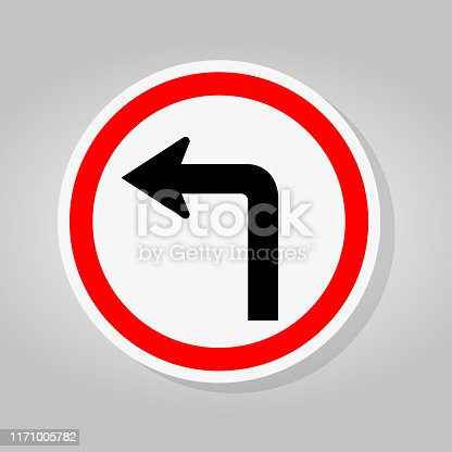 Turn Left Traffic Road Sign Isolate On White Background,Vector Illustration