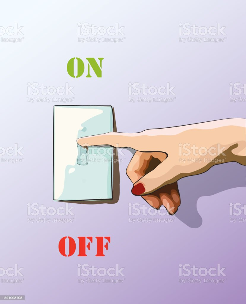 Turn Off Toggle Style Electric Light Wall Switch Conserve Energy Royalty Free Stock