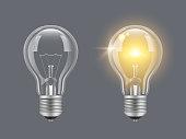 電球をオンにします。光現実的な透明電球明るいランプベクトル写真