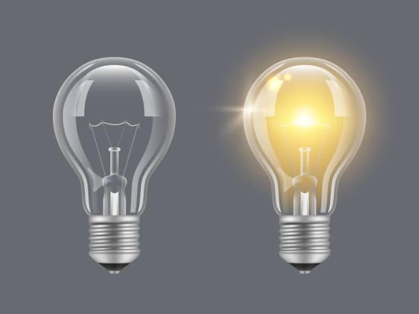 전구를 켭니다. 빛, 현실적, 투명 한, 전구, 밝은, 램프 벡터 사진 - 전구 stock illustrations