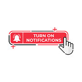 Turn On Notification button icon for social media. Notification bell icon button Vector illustration design template. Bell icon or button for video channel, blog, social media and background banner