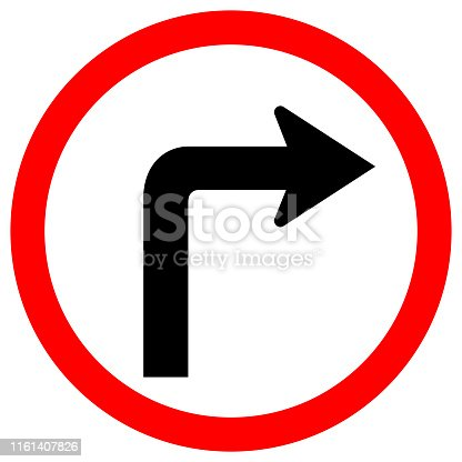 Turn Right Traffic Road Sign Isolate On White Background,Vector Illustration EPS.10