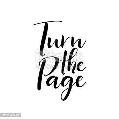 Turn the page. Vector illustration. Lettering. Ink illustration. t-shirt design