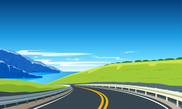 Turning highway banner Highway with mountains and blue sea. Road trip banner. Vector Illustration highway stock illustrations