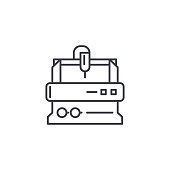 Turning lathe line icon, vector illustration. Turning lathe linear concept sign.