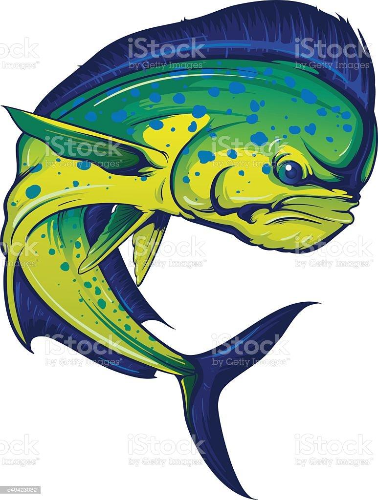 Turning Mahi Mahi Stock Vector Art & More Images of Blue 546423032 ...