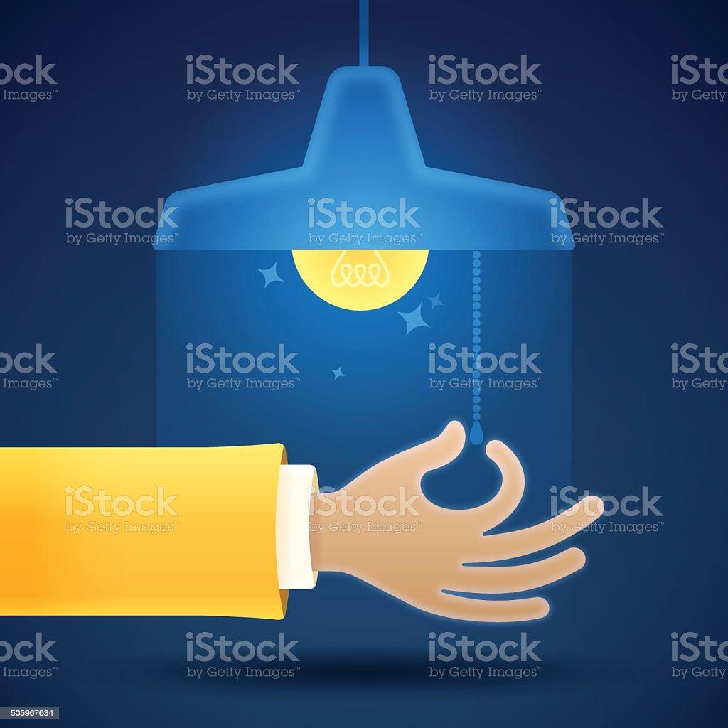 Turning On or Off a Light vector art illustration