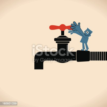 Vector illustration – Turning On or Off the Faucet.