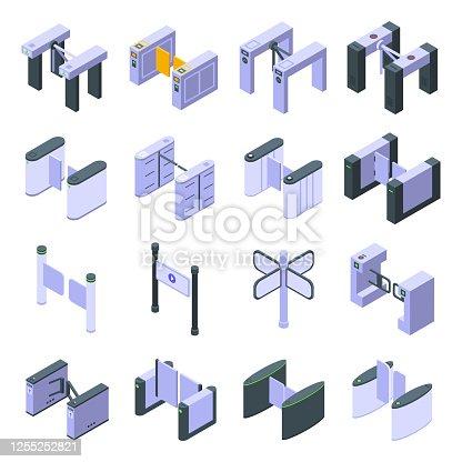 Turnstile icons set. Isometric set of turnstile vector icons for web design isolated on white background