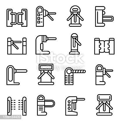 Turnstile icons set. Outline set of turnstile vector icons for web design isolated on white background