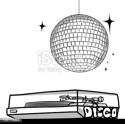 istock Turntable And Disco Ball 1281730641
