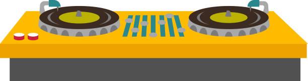 ilustrações, clipart, desenhos animados e ícones de ilustração em vetor dj turntable console mixer - toca discos