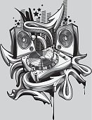 trendy grayscale music design, layered vector artwork