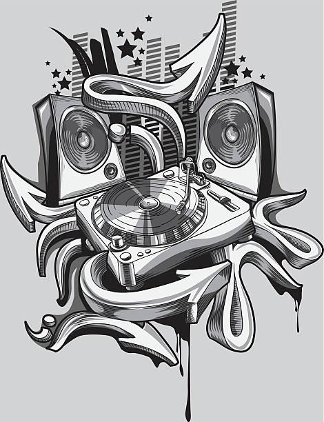 illustrations, cliparts, dessins animés et icônes de platine de disque vinyle & graffiti flèches - hip hop