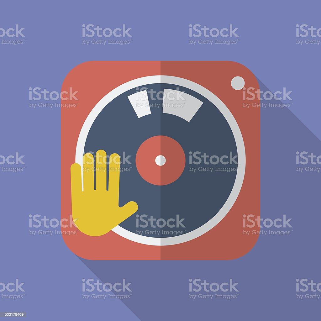 DJ turntable icon. Modern Flat style with a long shadow vector art illustration