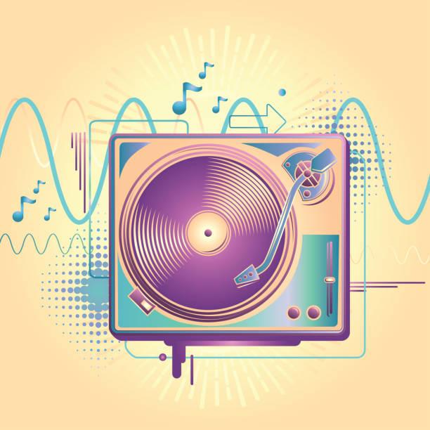 Turntable music design decorative vector artwork electronic music stock illustrations