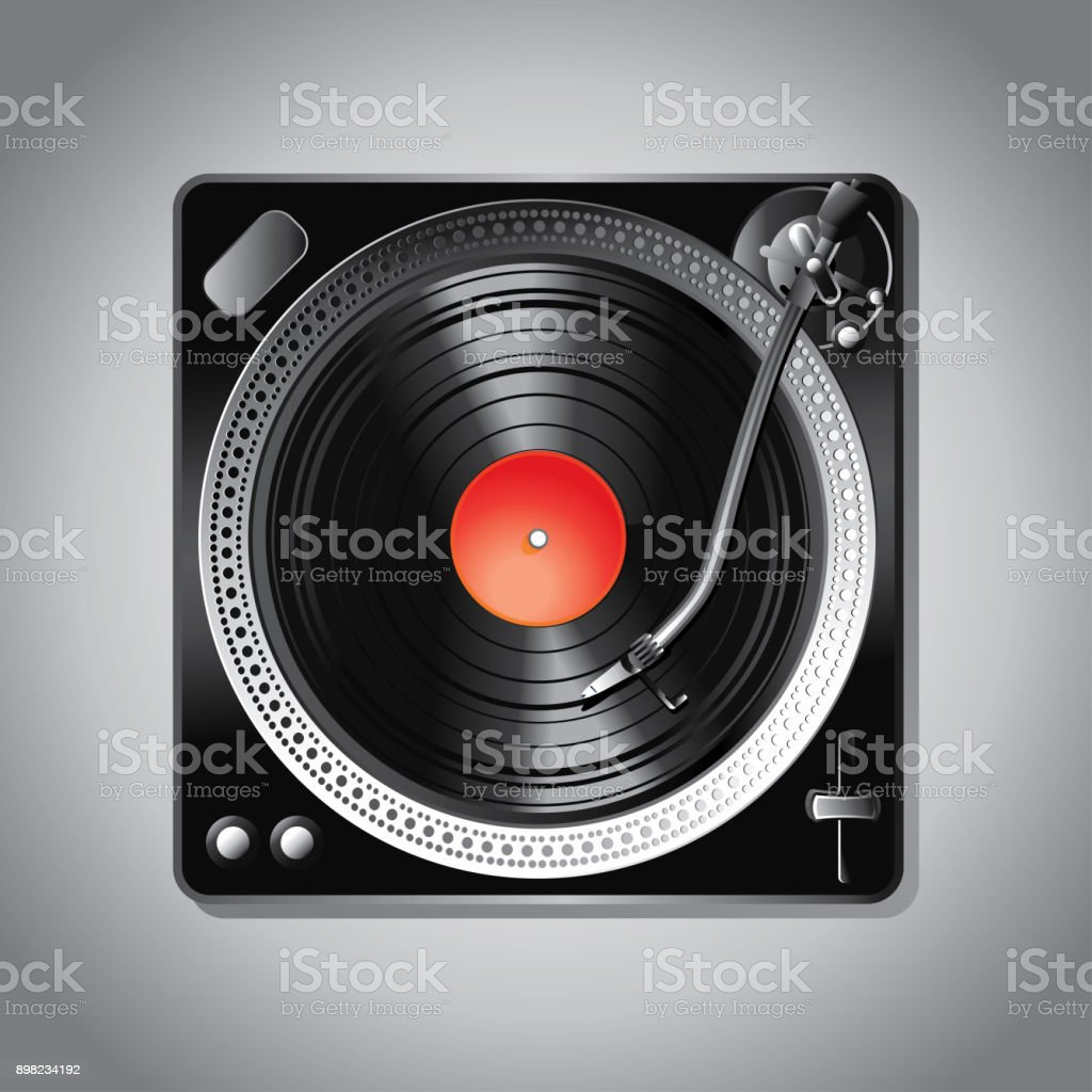 Turntable music icon vector art illustration