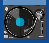 Vector illustration of a turntable with a record in flat style.