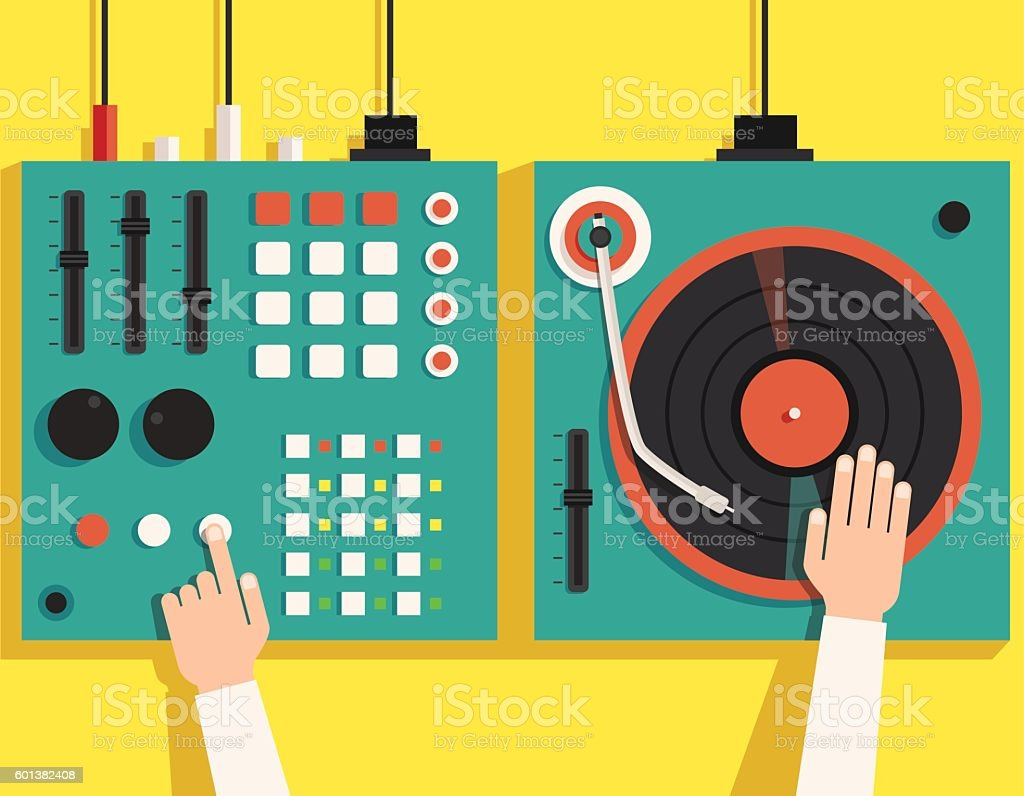 Turntable with dj hands. Vector flat illustration vector art illustration