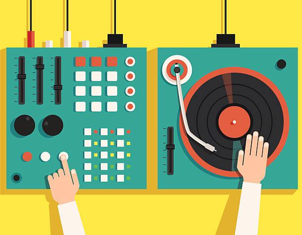 ilustrações, clipart, desenhos animados e ícones de turntable with dj hands. vector flat illustration - toca discos