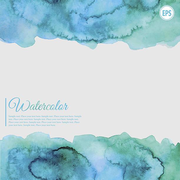 ilustrações, clipart, desenhos animados e ícones de aquarela abstrato azul turquesa e quadro - planos de fundo borrados