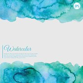 Turquoise and blue watercolor abstract frame