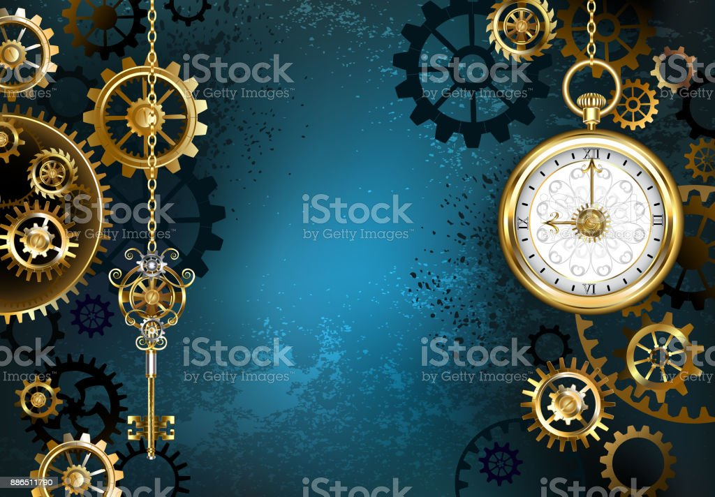 Turquoise Background with Gears vector art illustration