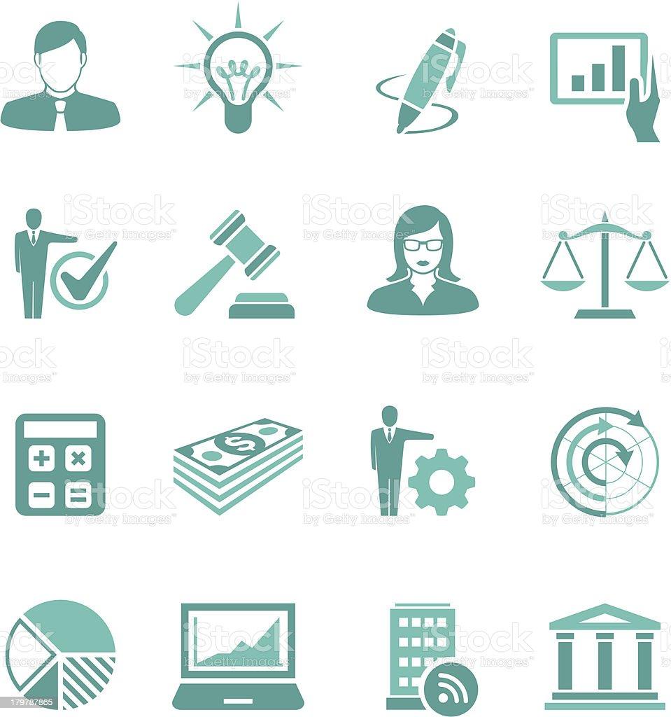 Turquoise Business Icon Set vector art illustration