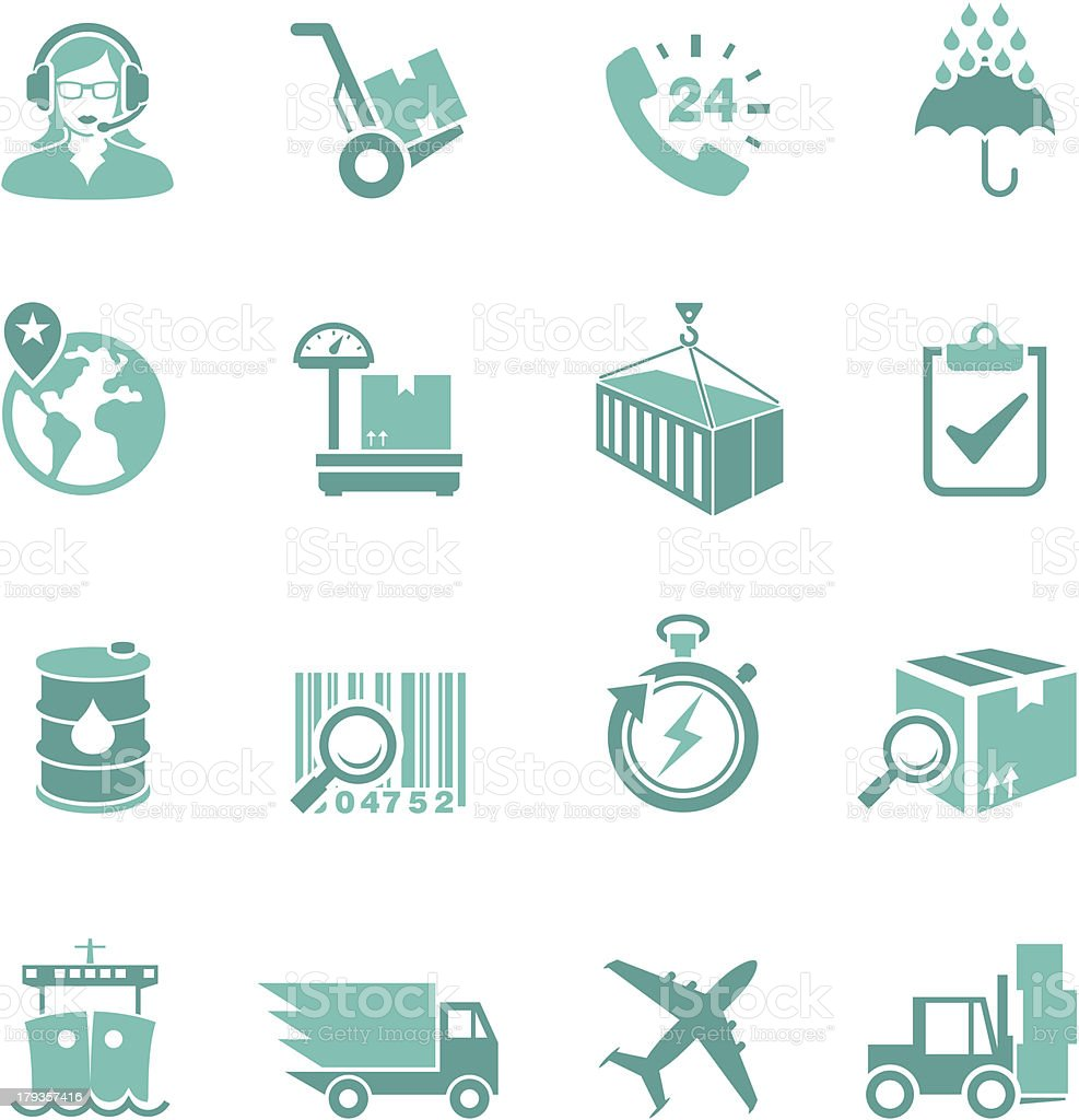 Turquoise colored delivery icon set vector art illustration