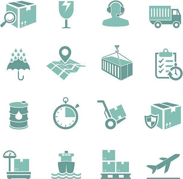 türkis versand-icon-set - frachtpaletten stock-grafiken, -clipart, -cartoons und -symbole
