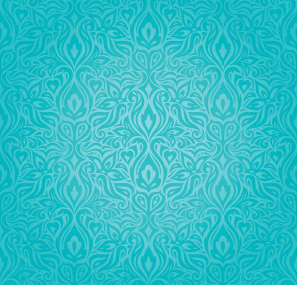 Fondo de pantalla de fiesta floral turquesa fondo vintage diseño moda de azul a verde - ilustración de arte vectorial