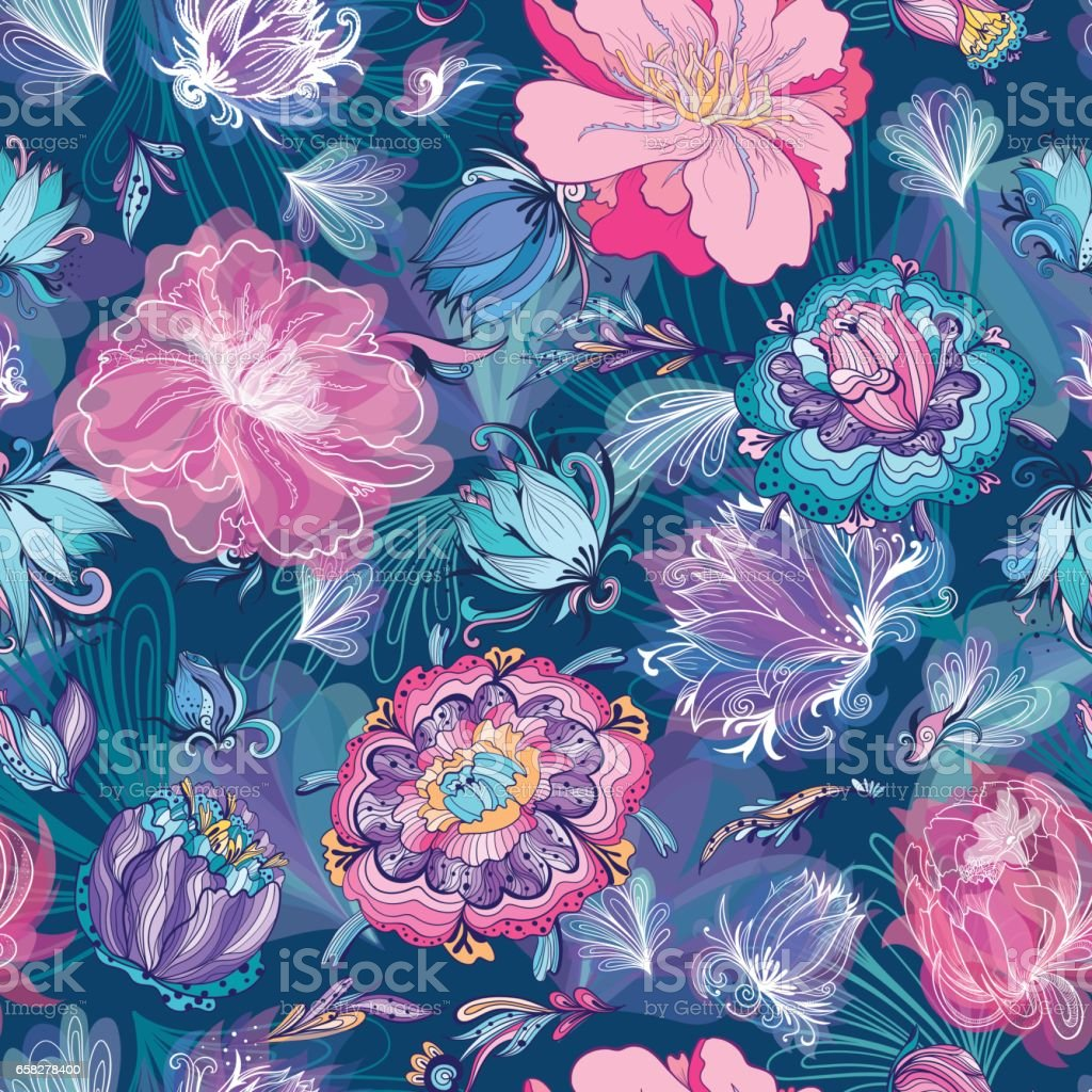 Turquoise Floral Lotus and Peony Vector Pattern vector art illustration