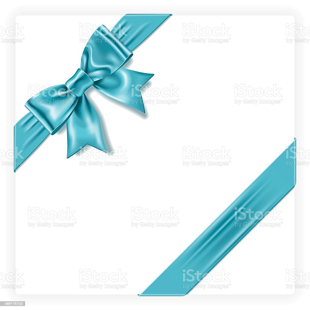 Turquoise Gift Bow vector art illustration