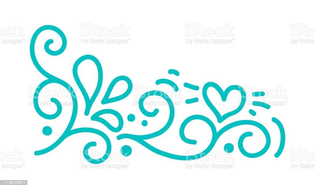 Turquoise monoline scandinavian folk flourish vector with leaves and...