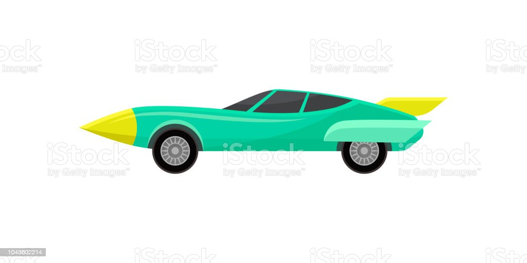 Turquoise Racing Automobile Vintage Sport Car With Spoiler Fast Road