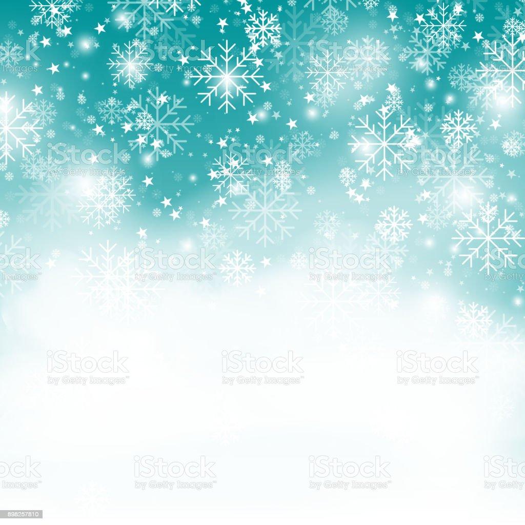 Türkis Schneeflocke Hintergrund Weihnachten Schneefall ...