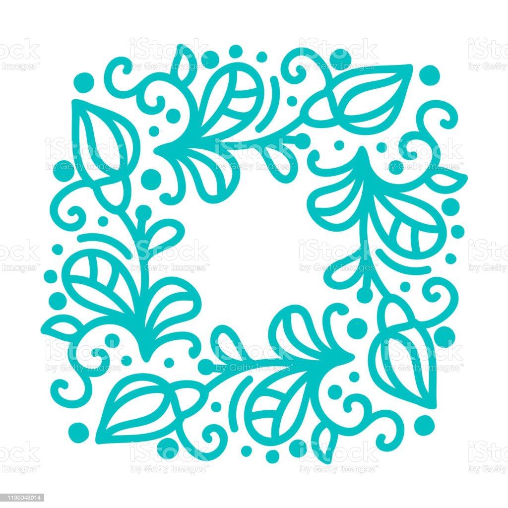 Turquoise vector monoline calligraphy flourish frame for greeting...